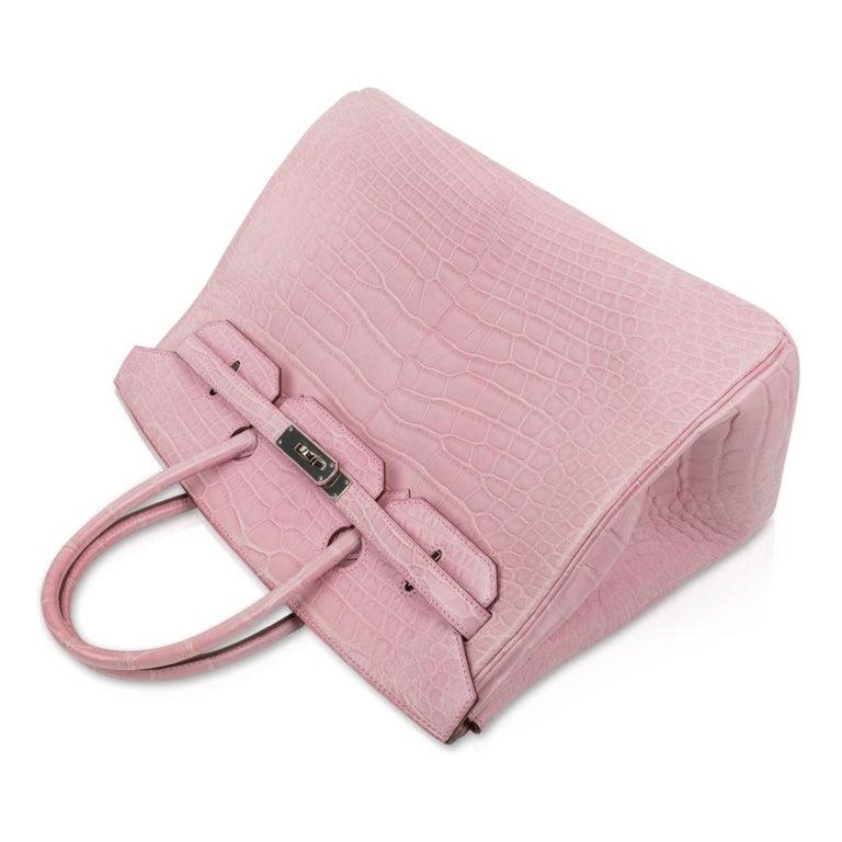 Women's Hermes Birkin 35 Bag 5P Bubblegum Pink Matte Alligator Palladium Rare For Sale