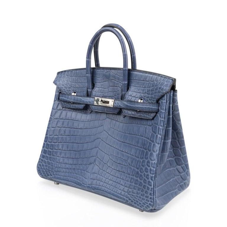 Hermes Birkin 25 Bag Blue Brighton Matte Crocodile Palladium Hardware For Sale 1