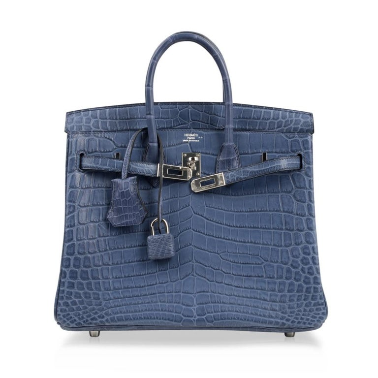 Hermes Birkin 25 Bag Blue Brighton Matte Crocodile Palladium Hardware For Sale 3