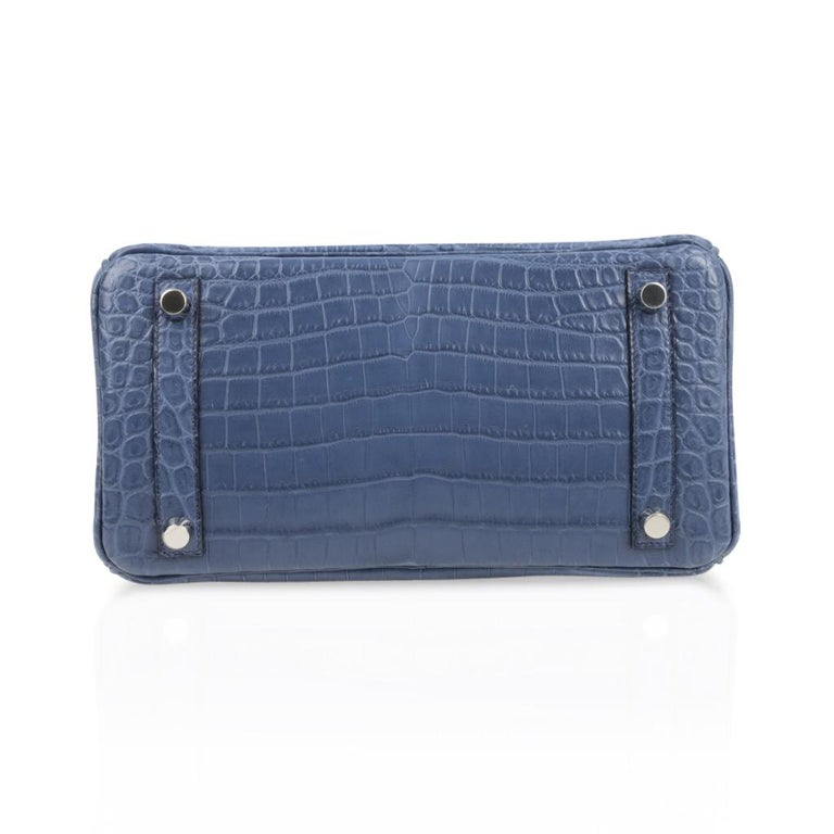 Hermes Birkin 25 Bag Blue Brighton Matte Crocodile Palladium Hardware For Sale 5