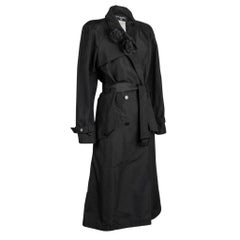 Chanel 03C Trench Coat Silk Two Camellia Pins 42 / 8