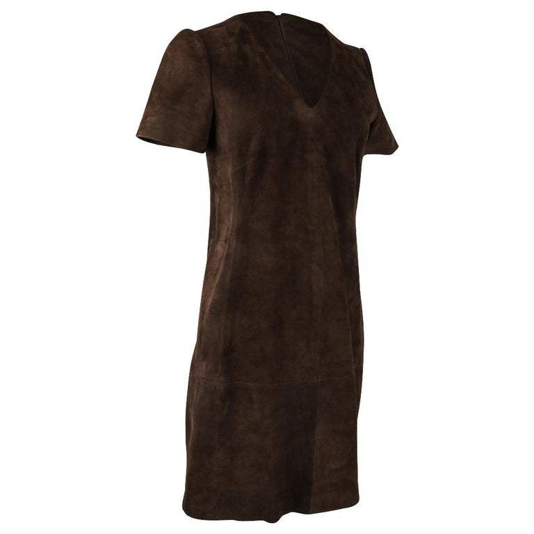 Balenciaga Dress Runway Lush Soft Rich Chocolate Brown Suede 38 4 In Excellent Condition For