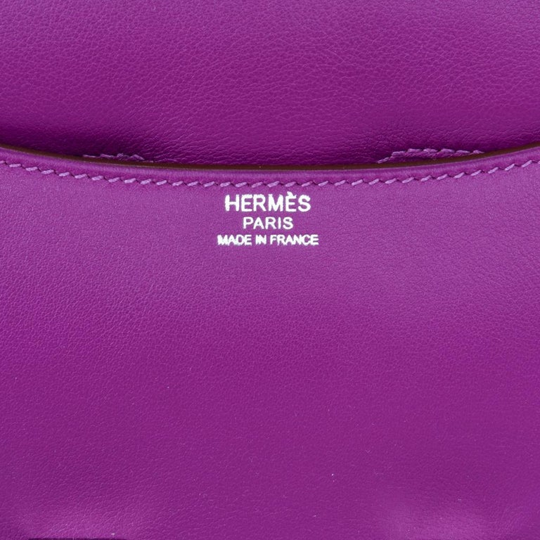 Hermes Constance Rare 24 Anemone Double Gusset Palladium For Sale 2
