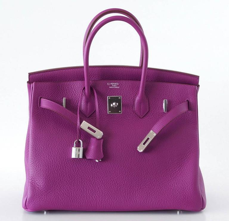 Jewel toned Hermes Birkin 35 rare Tosca Special Order Horseshoe.   Interior has a cell phone pocket! Clemence leather is textured and butter soft.  Accentuated with Palladium hardware.  New or Never Worn.  Comes with lock, keys, clochette, sleeper,