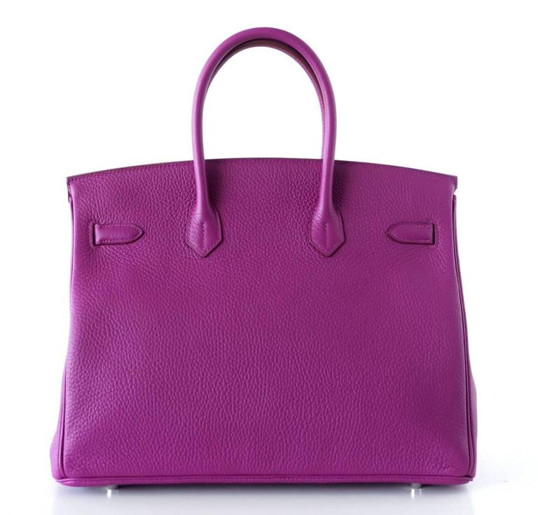Purple Hermes Birkin 35 Bag Rare Tosca HSS  Clemence Palladium For Sale