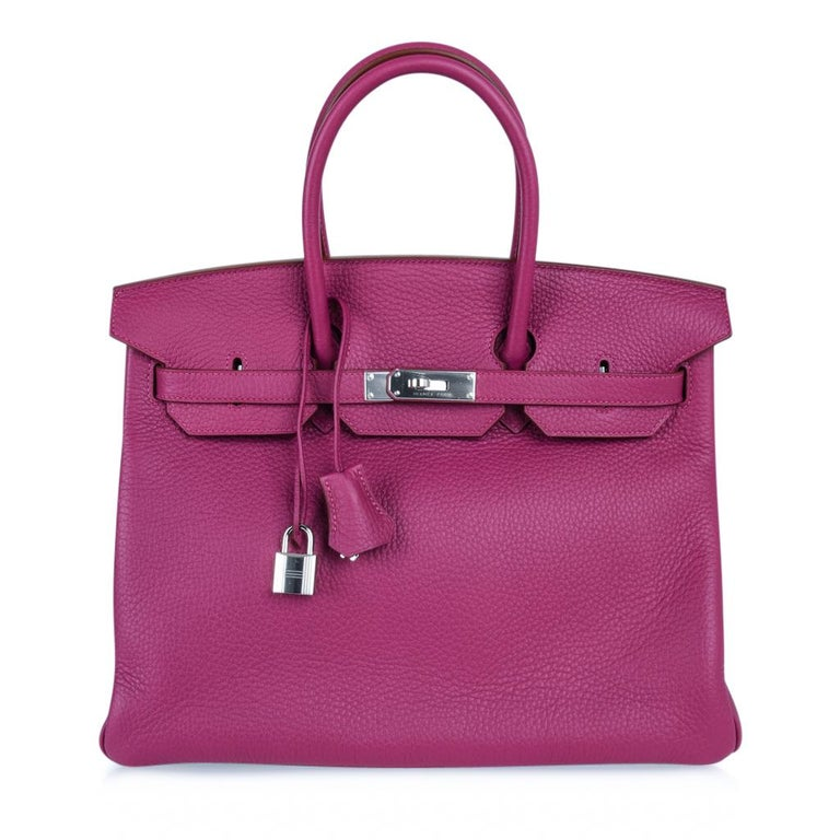 Jewel toned Hermes Birkin 35 bag features rare Tosca HSS.   Interior has a cell phone pocket! Clemence leather is textured and butter soft.  Accentuated with Palladium hardware.  New or Never Worn.  Comes with lock, keys, clochette, sleeper,