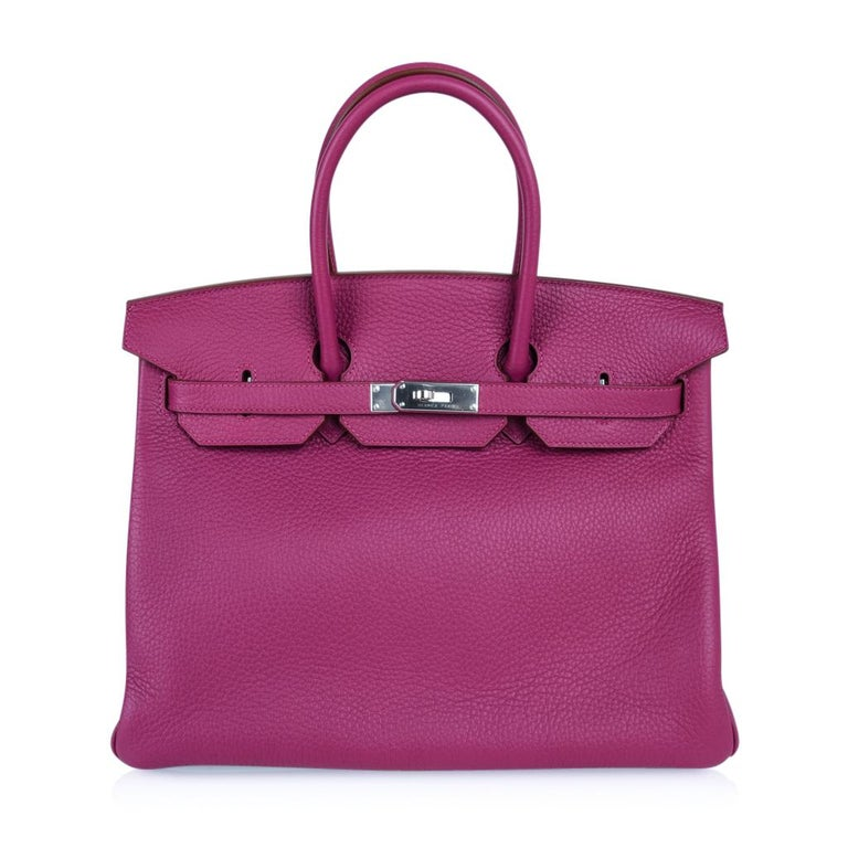 Hermes Tosca HSS Clemence Palladium Birkin 35 Bag  For Sale 7