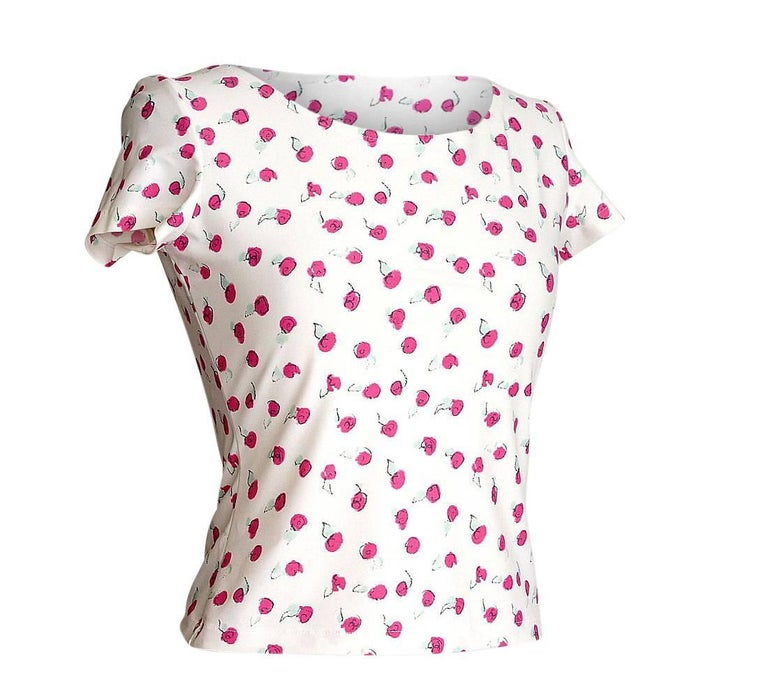 Chanel 99S Top Small Abstract Pink Roses SO Charming 40 / 6