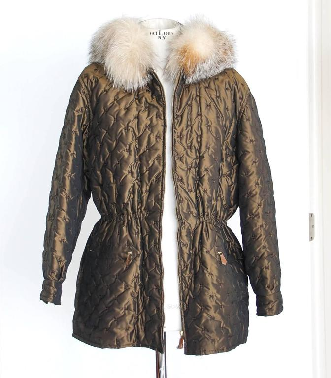 Hermes Jacket Vintage Iridescent Quilted Parka Lush Fox