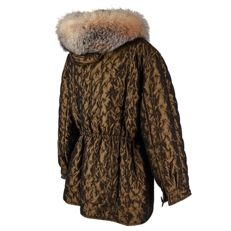 Women's Hermes Jacket Vintage Iridescent Quilted Parka Lush Fox Hoodie Trim 6 For Sale