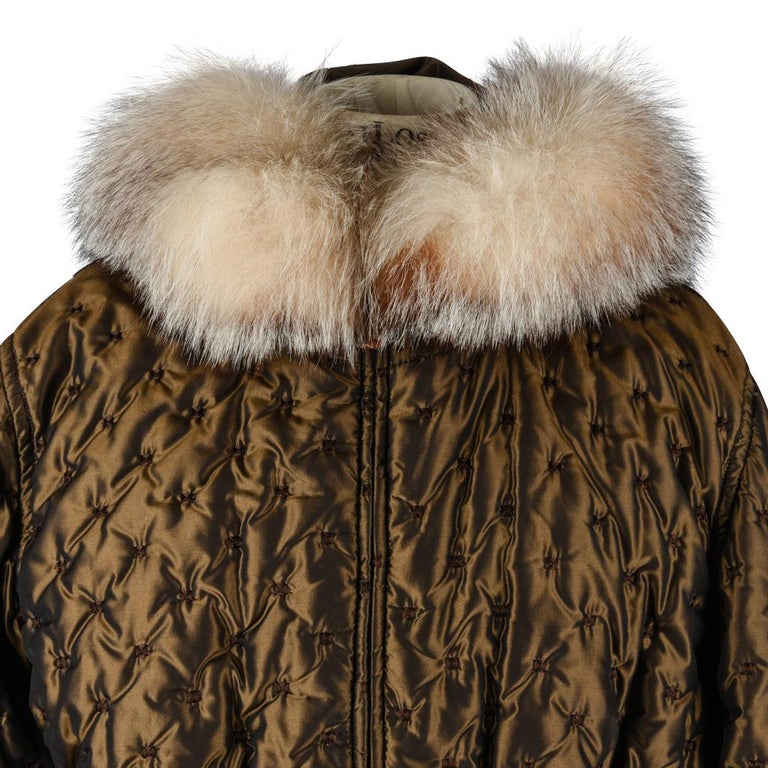 Hermes Jacket Vintage Iridescent Quilted Parka Lush Fox Hoodie Trim 6 In Excellent Condition For Sale In Miami, FL