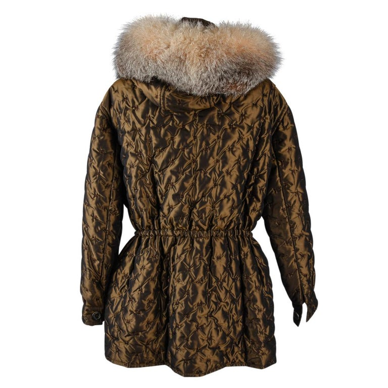 Hermes Jacket Vintage Iridescent Quilted Parka Lush Fox Hoodie Trim 6 For Sale 3