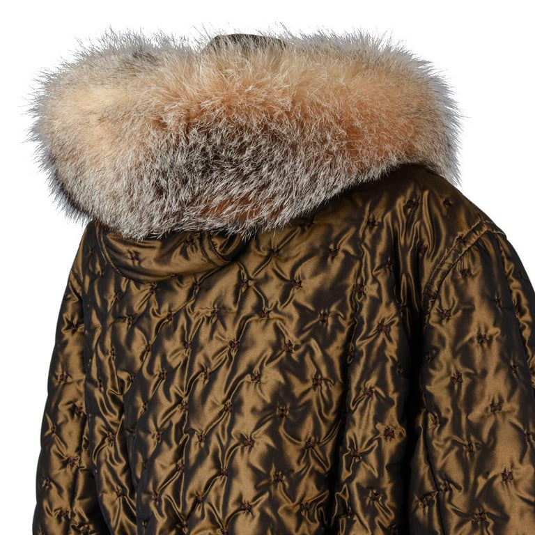 Hermes Jacket Vintage Iridescent Quilted Parka Lush Fox Hoodie Trim 6 For Sale 4