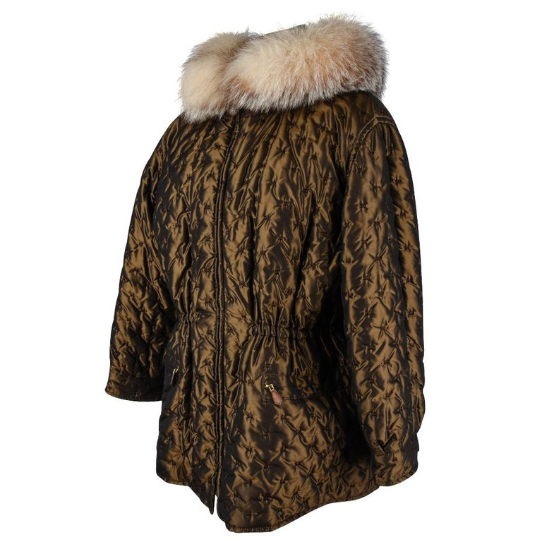 Black Hermes Jacket Vintage Iridescent Quilted Parka Lush Fox Hoodie Trim 6 For Sale