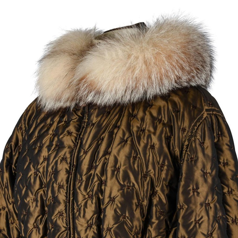 Hermes Jacket Vintage Iridescent Quilted Parka Lush Fox Hoodie Trim 6 For Sale 1