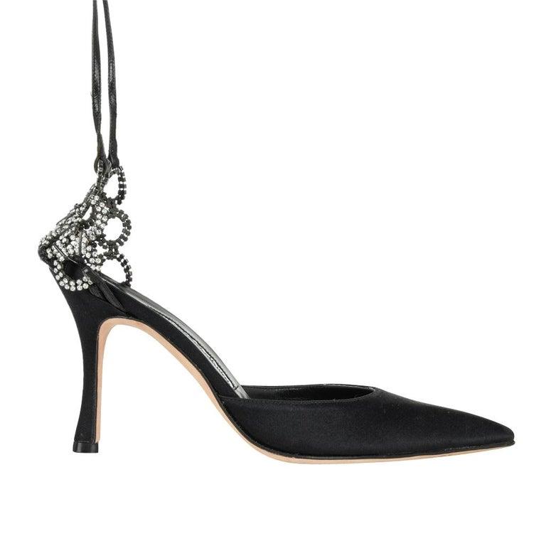 6dbdb57ebaf55 Manolo Blahnik Shoe Satin Ankle Strap Swarovski Crystal 38 / 8 In Excellent  Condition In Miami