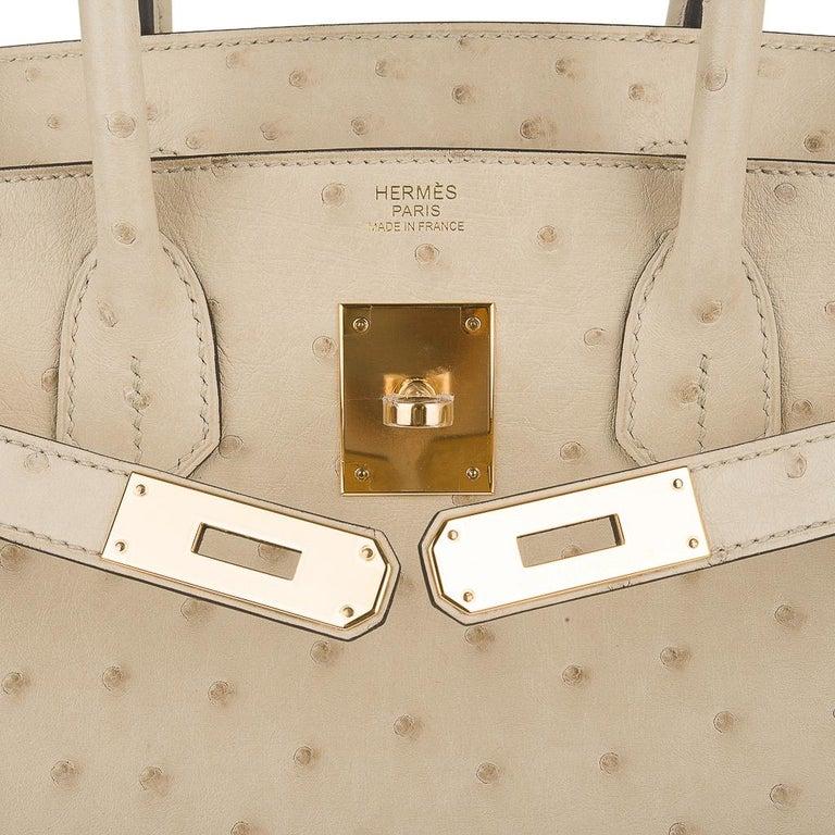 Women's Hermes Birkin 30 Bag Parchemin Gold Hardware Perfect Year Round Neutral For Sale