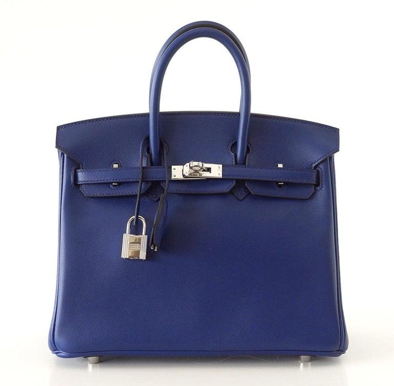 Hermes Birkin 25 Exotic Blue Sapphire Swift Palladium In New Condition For Sale In Miami, FL