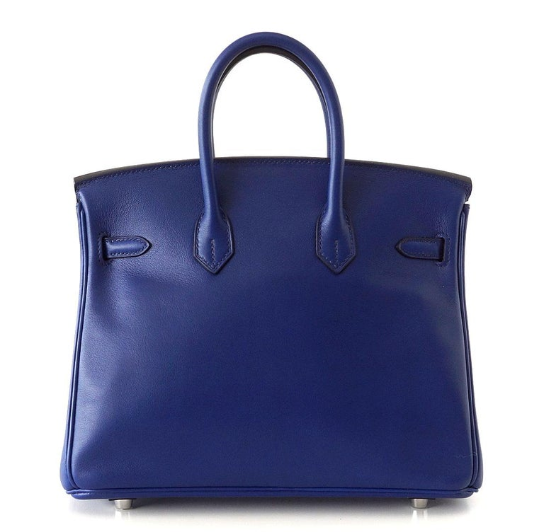 Purple Hermes Birkin 25 Exotic Blue Sapphire Swift Palladium For Sale