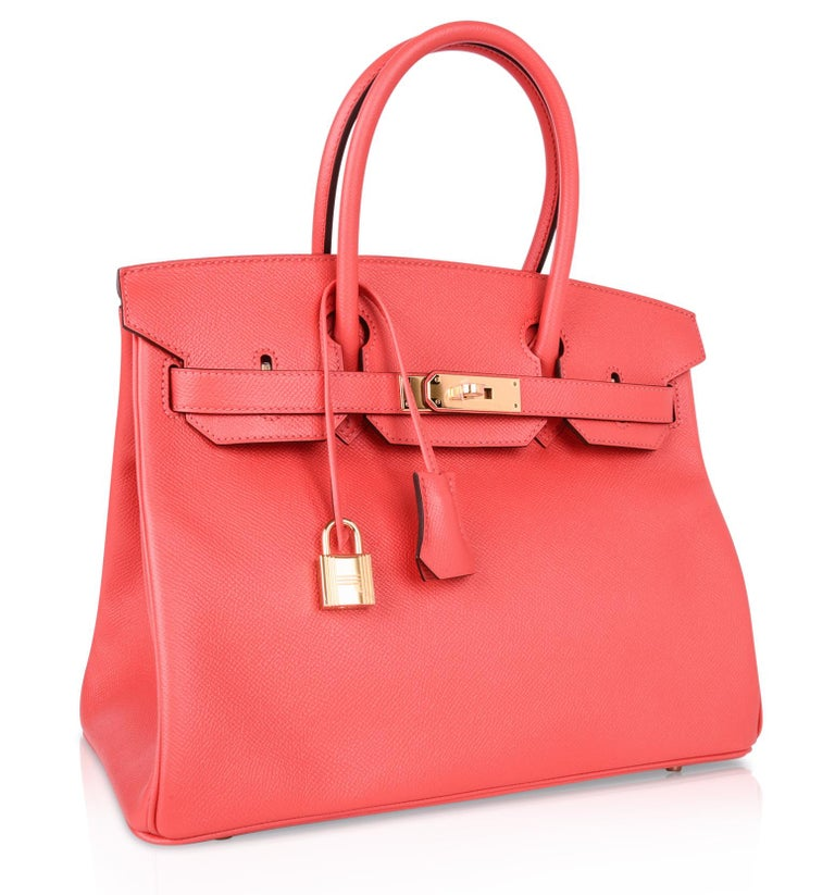 Red Hermes Birkin 30 Bag Exquisite Rose Jaipur Pink Epsom Gold Hardware For Sale