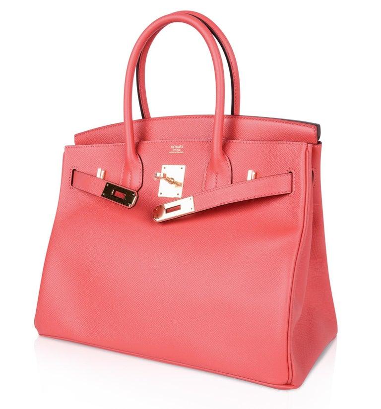 Hermes Birkin 30 Bag Exquisite Rose Jaipur Pink Epsom Gold Hardware For Sale 3