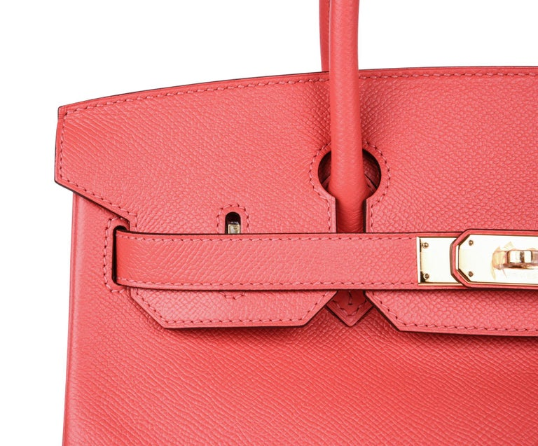 Hermes Birkin 30 Bag Exquisite Rose Jaipur Pink Epsom Gold Hardware For Sale 2