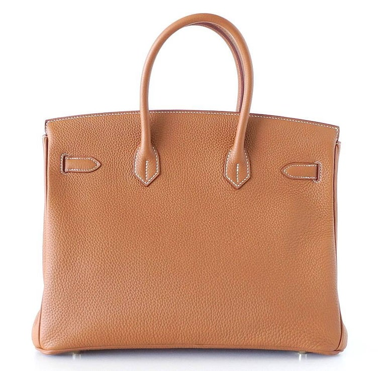 Women's Hermes Birkin 35 Bag Coveted Gold Togo Gold Hardware Iconic Classic For Sale