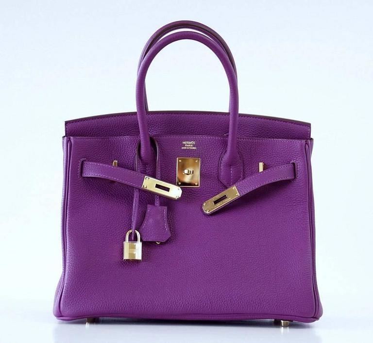 Hermes Birkin 30 Anemone Purple Togo Gold Hardware Exotic Beauty 3