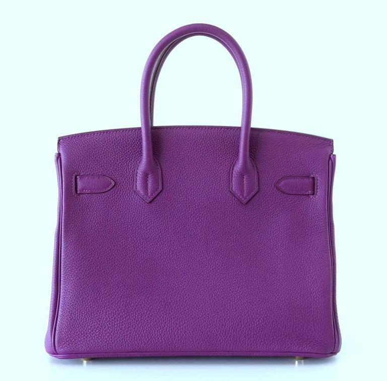 Hermes Birkin 30 Anemone Purple Togo Gold Hardware Exotic Beauty 4