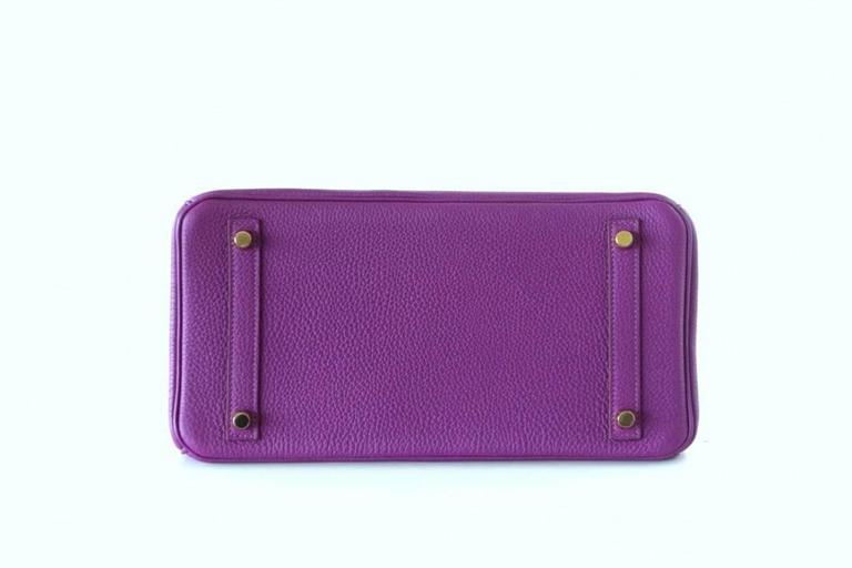 Hermes Birkin 30 Anemone Purple Togo Gold Hardware Exotic Beauty 5