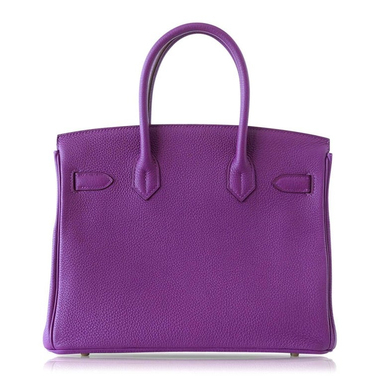 Hermes Birkin 30 Anemone Purple Togo Gold Hardware Exotic Beauty For Sale 1