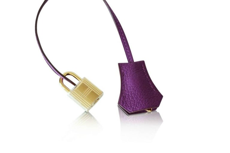 Hermes Birkin 30 Anemone Purple Togo Gold Hardware Exotic Beauty In Excellent Condition For Sale In Miami, FL