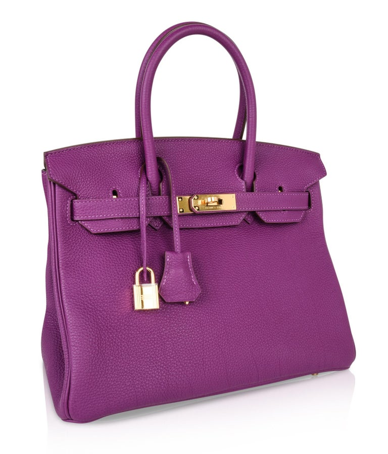 Hermes Birkin 30 Anemone Purple Togo Gold Hardware Exotic Beauty For Sale 2