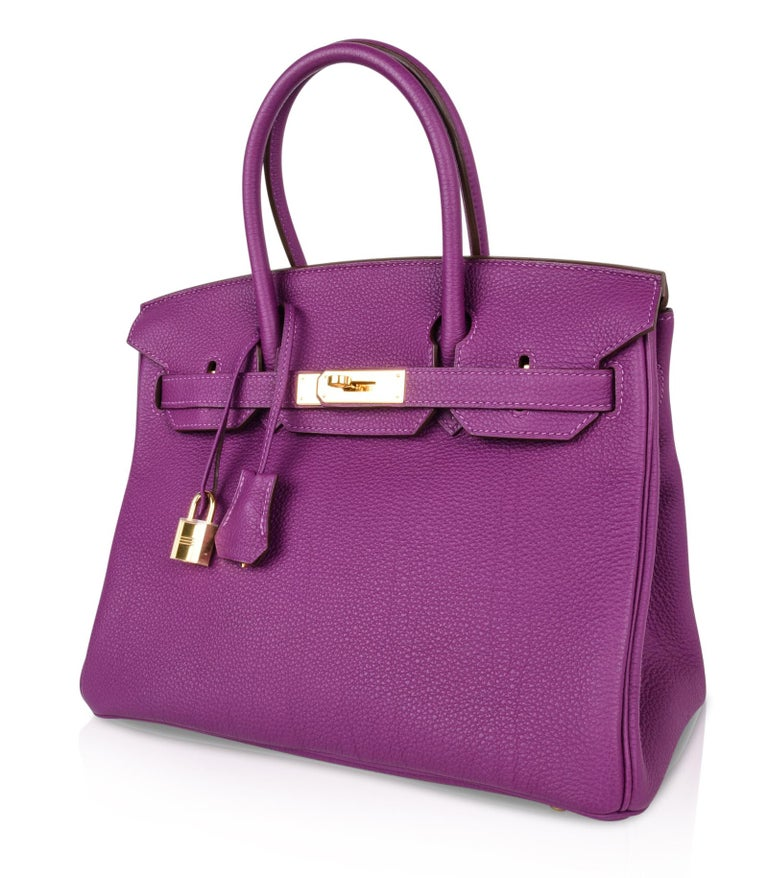 Hermes Birkin 30 Anemone Purple Togo Gold Hardware Exotic Beauty For Sale 4