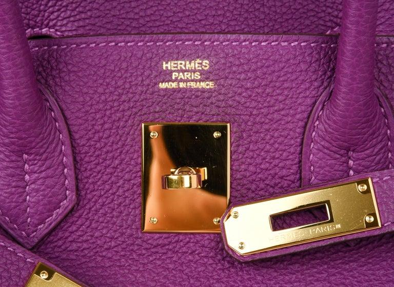 Women's Hermes Birkin 30 Anemone Purple Togo Gold Hardware Exotic Beauty For Sale