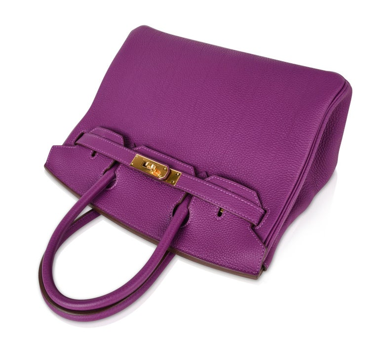 Hermes Birkin 30 Anemone Purple Togo Gold Hardware Exotic Beauty For Sale 3