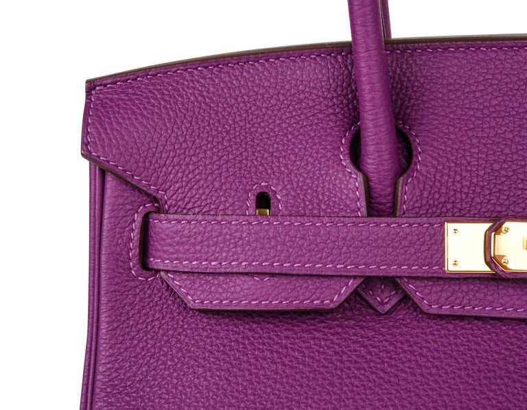 Hermes Birkin 30 Anemone Purple Togo Gold Hardware Exotic Beauty For Sale 5
