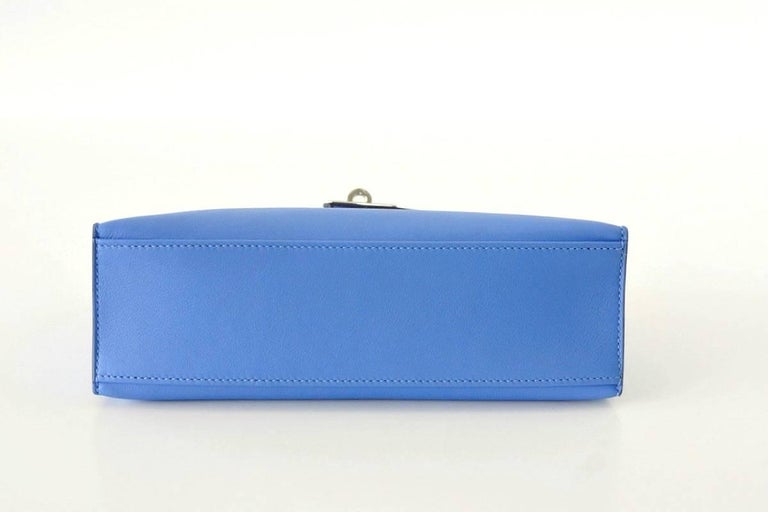 Women's Hermes Kelly Pochette Sublime Blue Paradise Swift Palladium For Sale