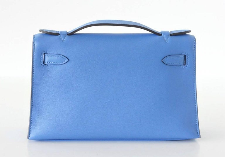 Hermes Kelly Pochette Sublime Blue Paradise Swift Palladium In New never worn Condition For Sale In Miami, FL