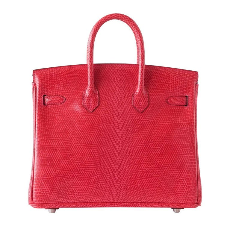 Women s Hermes Birkin 25 Ultra Rare Coveted Lizard Rouge Exotic Palladium  Bag For Sale 5b9fdafc9