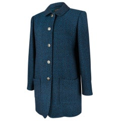 Chanel 97A Blue and Brown Chic Wearable 40 /  6 New Car Coat