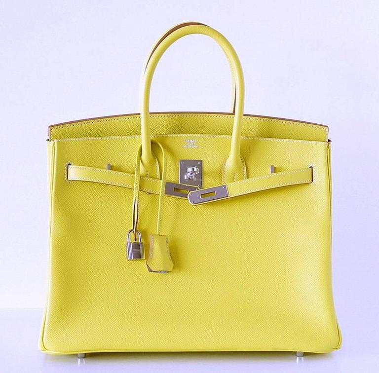 HERMES BIRKIN 35 Bag Limited Edition Candy LIME Gris Interior Epsom Palladium 2