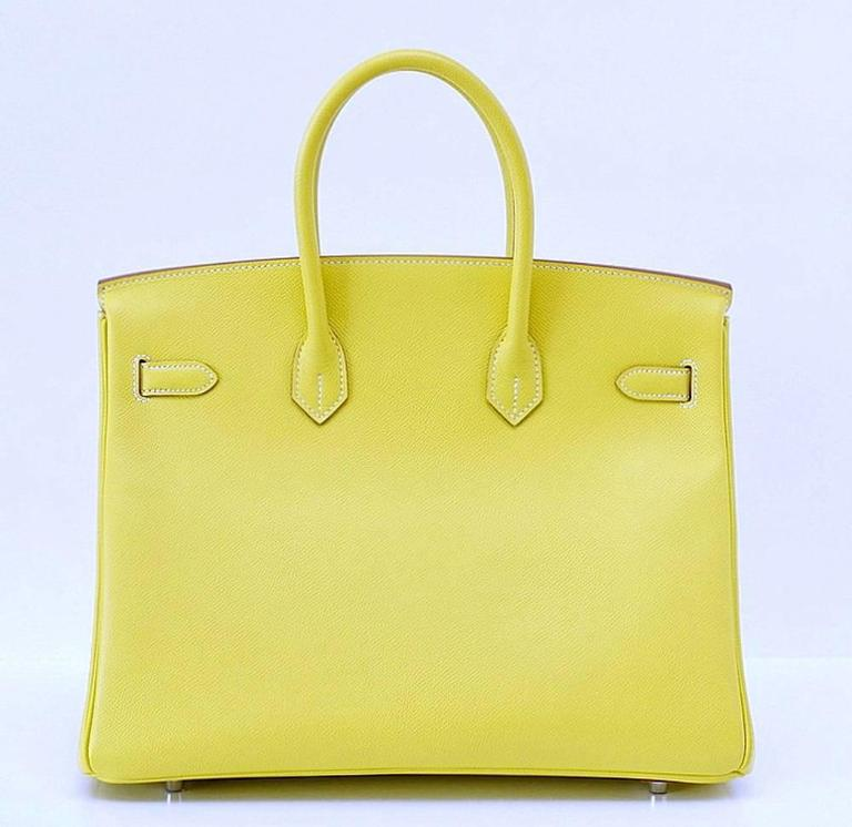 HERMES BIRKIN 35 Bag Limited Edition Candy LIME Gris Interior Epsom Palladium 4