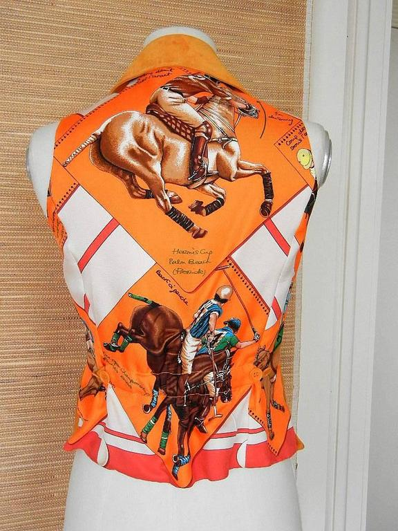 Front is lush burnt orange suede with 6 buttons.