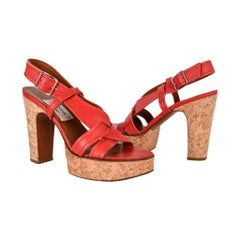 Lanvin Shoe Cork Platform Rich Red Leather 37 / 7