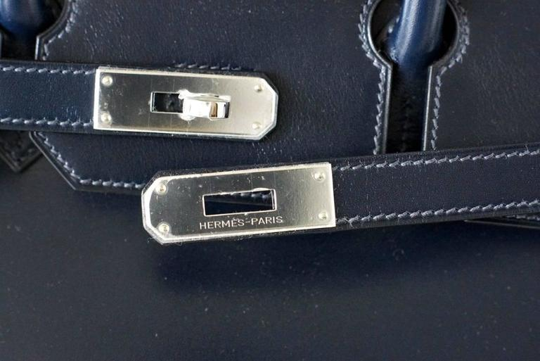 7c7216d4d2 Purple Hermes Birkin 35 Bag Blue Marine Coveted Rare Box Leather Palladium  For Sale