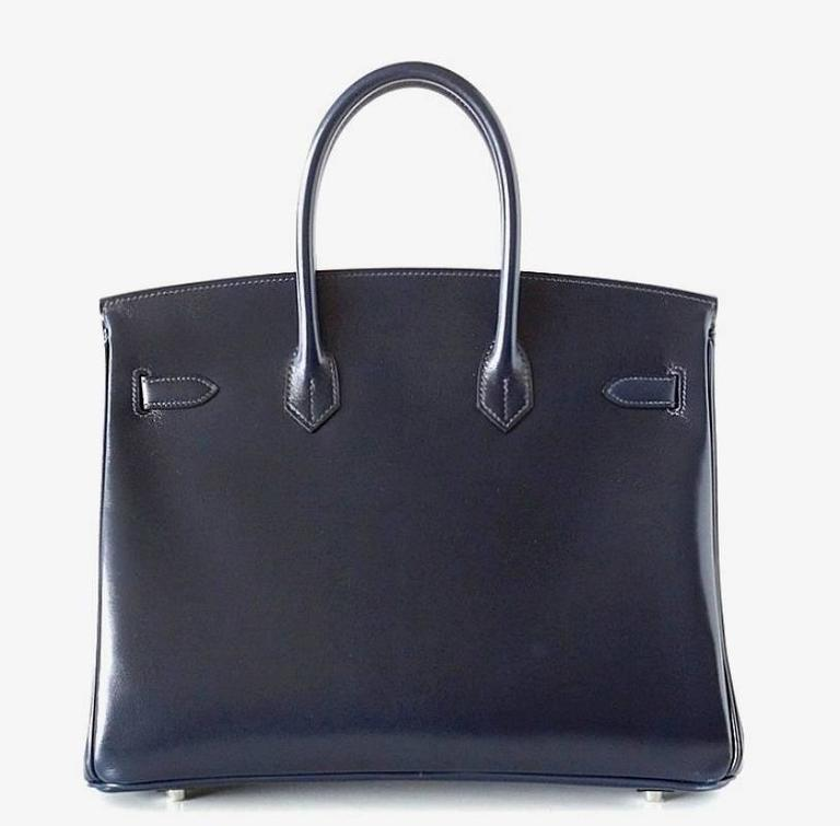 Hermes Birkin 35 Bag Blue Marine Coveted Rare Box Leather Palladium In New Never_worn Condition For Sale In Miami, FL