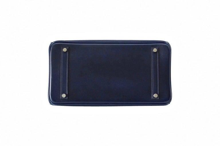 Women's Hermes Birkin 35 Bag Blue Marine Coveted Rare Box Leather Palladium For Sale