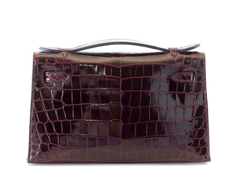 Hermes Kelly  Pochette Clutch Bag Rare Bordeaux Crocodile Palladium 2