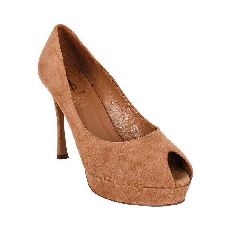 ecffcf1c99a Women's Yves Saint Laurent Shoe Peeptoe Suede Pump 36.5 / 6.5 New/box For  Sale